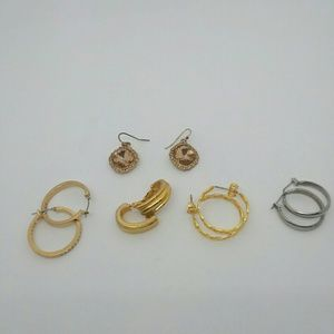 5 Pair Gold-Tone/Silver-Tone Earring Bundle.